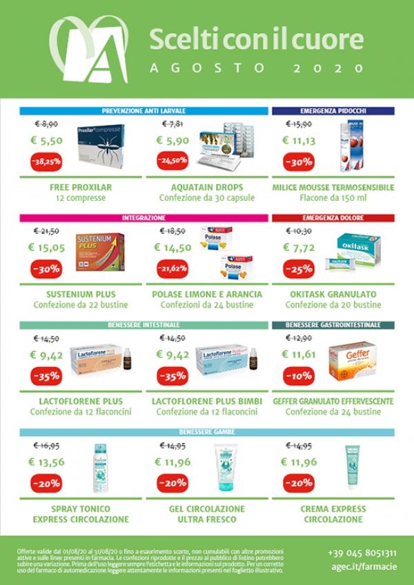 Promozioni nelle Farmacie Comunali AGEC - Agosto 2020